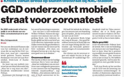 GGD onderzoekt mobiele straat voor coronatest